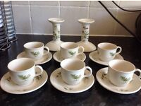 Collectable 'Poole Pottery' Coffee set and Candle sticks