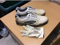 Golf shoes size 9 and golf glove