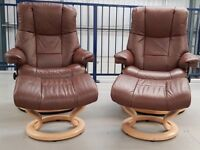 Ekornes Stressless 2 Swivel Brown recliner leather chairs & 2 footstools 2016