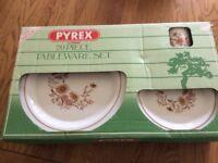 Vintage Pyrex 20 piece tableware set- boxed- floral pattern