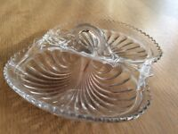 Vintage Crystal Glass Dish with 2 Sections/ Compartments