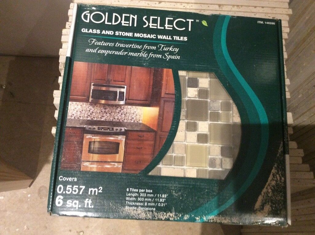 2 brand new unopened boxes of travertine mosaic tiles 6 sheets in each box