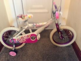 "Girls 16"" huffy bicycle in vgc with new stabilisers ideal Christmas present"