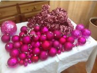 Pink Christmas bubbles and garland