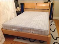 Double bed, mattress and chest of drawers