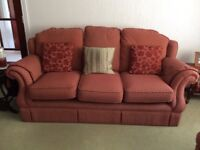 3 piece suite and storage footstool. REDUCED FOR QUICK SALE. £125 ono.