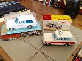 DINKY AMBULANCE AND POLICE RANGE ROVER?BOTH BOXED.