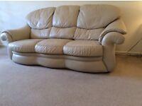 3 Piece leather suite stone colour good condition