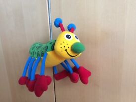 Bright colourful bug bouncer, on long spring, perfect as new condition