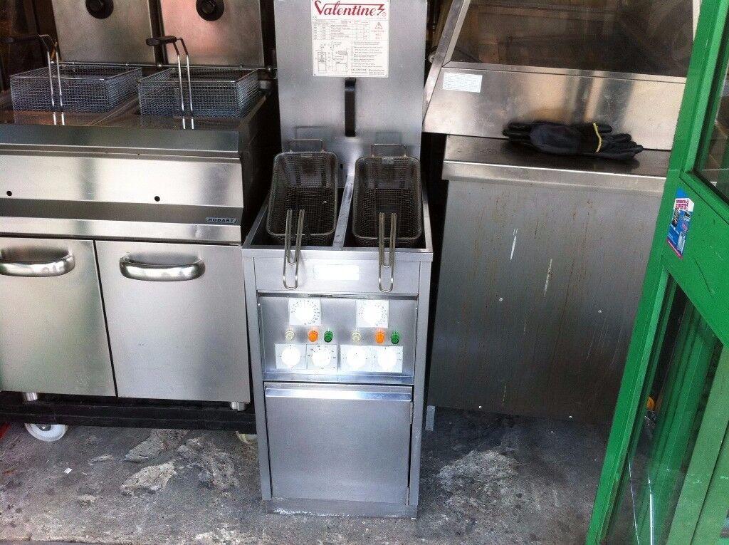 CATERING COMMERCIAL TWIN TANK VALENTINE FRYER CAFE KEBAB CHICKEN RESTAURANT FAST FOOD KITCHEN BAR
