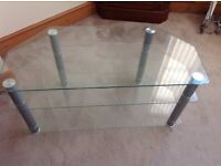 3 tiered toughened glass TV corner stand