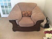 3 seater sofa. 2 seater and chair. Good condition in brown material. Very comfortable.