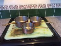 Vintage French Copper Saucepans ( set of 3 )