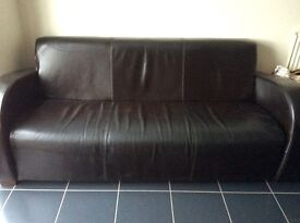 Brown Faux Leather sofa and armchair