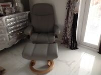 Grey Stressless chair and stool.