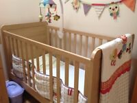 Mama's & Papa's baby cot bed, free standing wardrobe and changing table