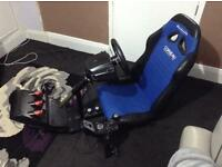Steering wheel and seat for driving games