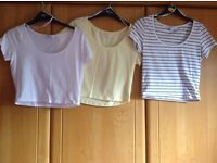 3 X Size 12 crop T/Shirts. Clean & immaculate. Price is for ALL 3 and NOT each !! Hols/ uni/ bed etc