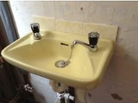 1970's Royal Doulton Yellow Cloakroom Basin