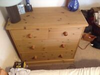 Corndell waxed pine chest of drawers