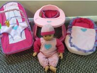 'Babies to Love' Doll with Pink Walker, Bouncer and Carry Cot