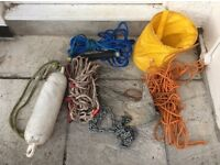 Boat bits, Anchor chain and ropes, 2 Bouys, ski rope, water proof bag, job lot plymouth