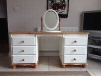A Beautiful Refurbished 6 Drawer Pine Dressing Table With Matching Mirror.