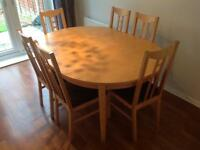 Extending Dining table & 6 chairs extendable