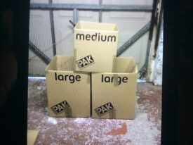 Packing boxes in sizes large, medium and small to be collected from Bangor.