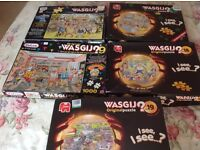 Wasgij Jigsaw Puzzles. 5 in total.