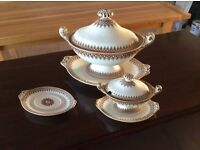 Antique decorative tureens with saucers and lids,made by lance