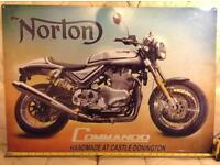 Norton Commando metal sign.. Genuine Norton Francise