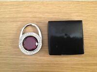 Portable Foldable Rhinestones Handbag Purse Lock Hanger Holder Table Hook