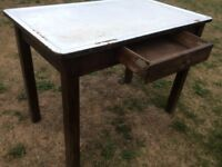 Old tin top table