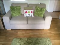 2x Cream Sofa with Sofa Bed