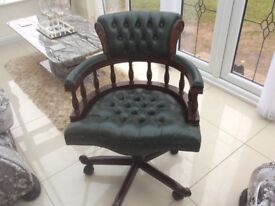 X2 Chesterfield office chairs for sale cost £500 ea. sell £100each ,tel 07538 142689