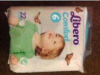 Libero size 6 Nappies. New and Sealed. Brand New. BARGAIN at £4.50 bag.
