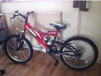 "trax tfs20 full suspension childs mountain bike 20""wheels 6 speed"