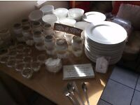 Wedding / Party / Christmas decorations incl 40x plates, 40x cutlery, 12x table vases etc