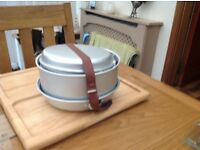 Camping pots and frying pan.