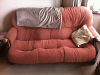 FREE = SOFA PLUS 2 ARMCHAIRS = SOLID OAK FRAME = NEED REHAPOSTRE = FREE COLLECTION FROM BEXLEYHEATH