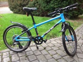 Boys, 6 to 8 yr old bike. manufacturer is Frog, Brand is Team Sky. Colour blue. Hard