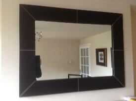 LARGE JOHN LEWIS BROWN LEATHER FRAMED MIRROR