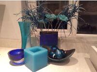 VARIOUS BLUE/AQUA ORNAMENTS /VASEs/candle etc