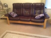 Sofas. Stress-less 3 seater and 2 seater reclining brown leather