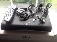 Sky HD Box inc Remote, wifi connection box, cables, Phone socket filter. Boxed