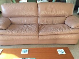 Dusky pink large leather sofa. Much loved but still in good condition.