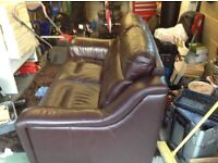 Brown leather 2 seater brand new nearly