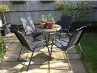 Black metal garden chairs, like new and very comfortable, set of 4