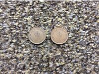 2x new penny, half penny 1979